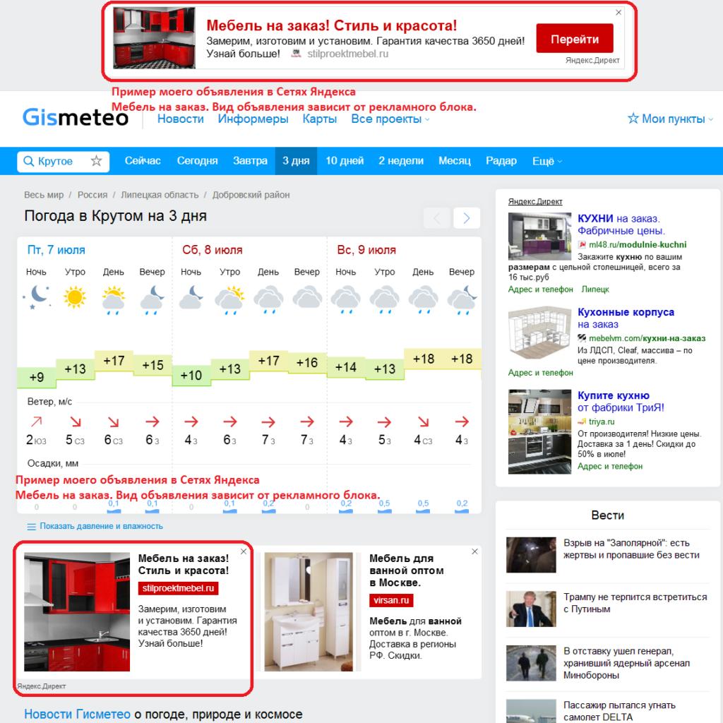Настройка рекламной кампании в сетях Яндекса - Мебель на заказ