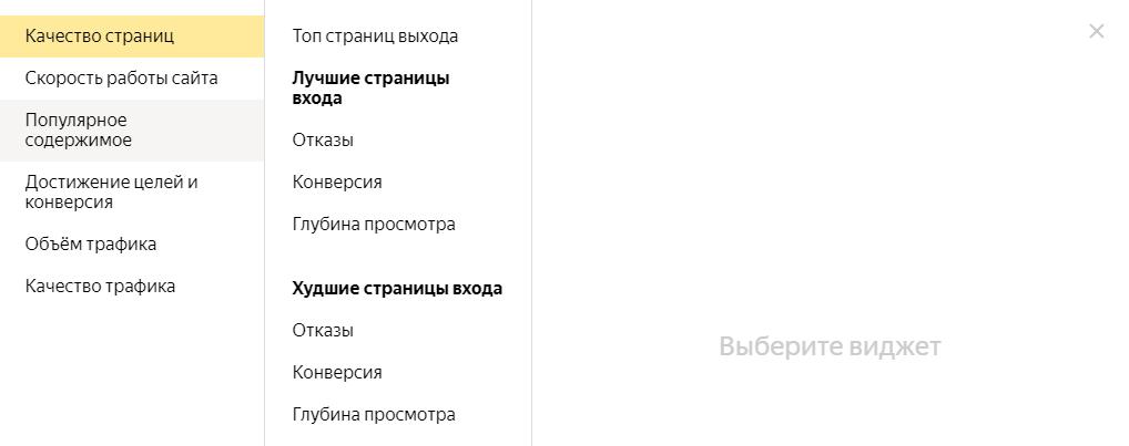 Библиотека виджетов Яндекс Метрики