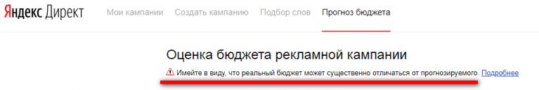 Прогноз бюджета рекламной кампании Яндекс Директ