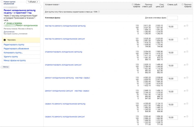 Цена клика в Прогнозе бюджета и интерфейсе Яндекс Директ