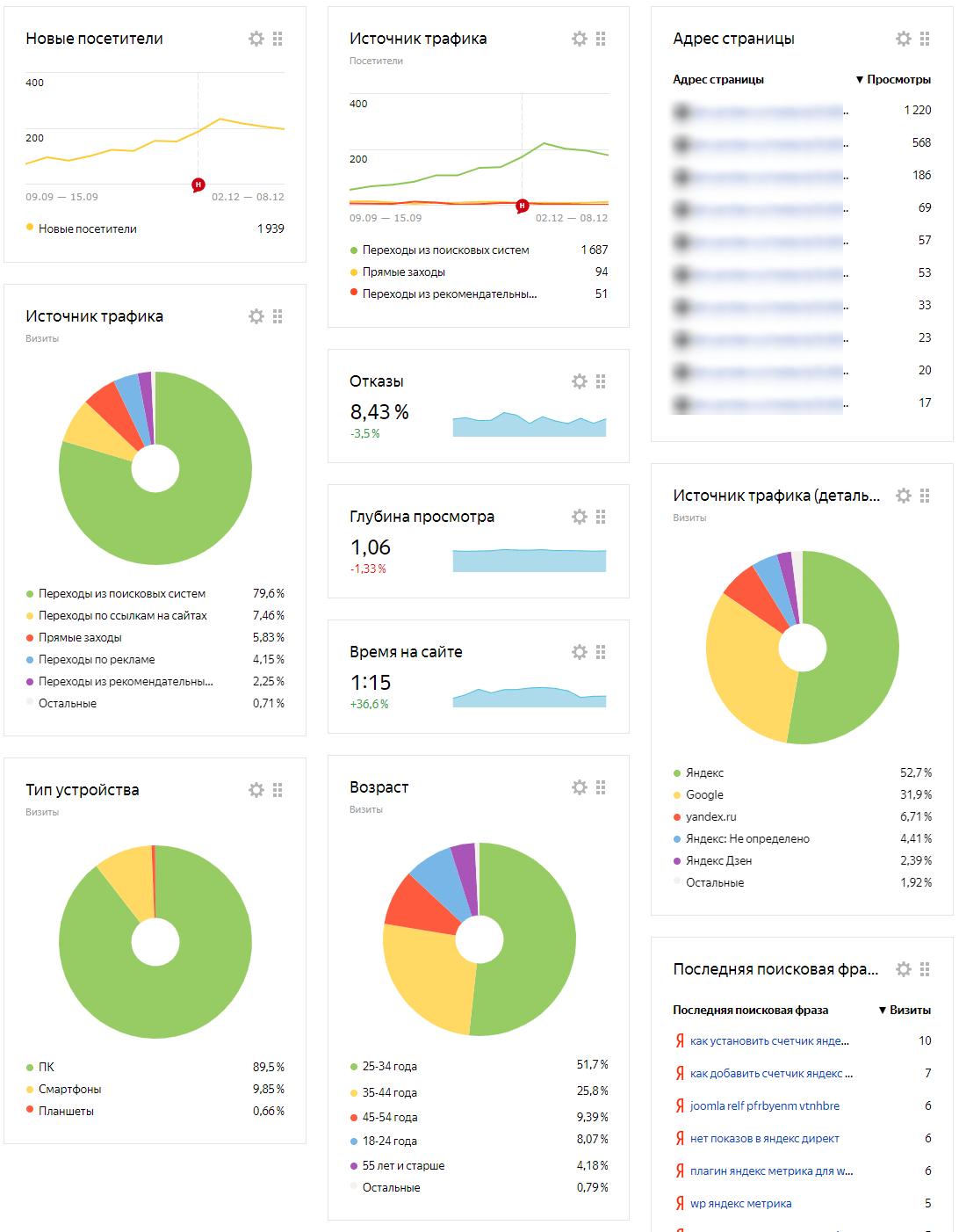 Настройка счётчика и целей Яндекс Метрики - Отчёты