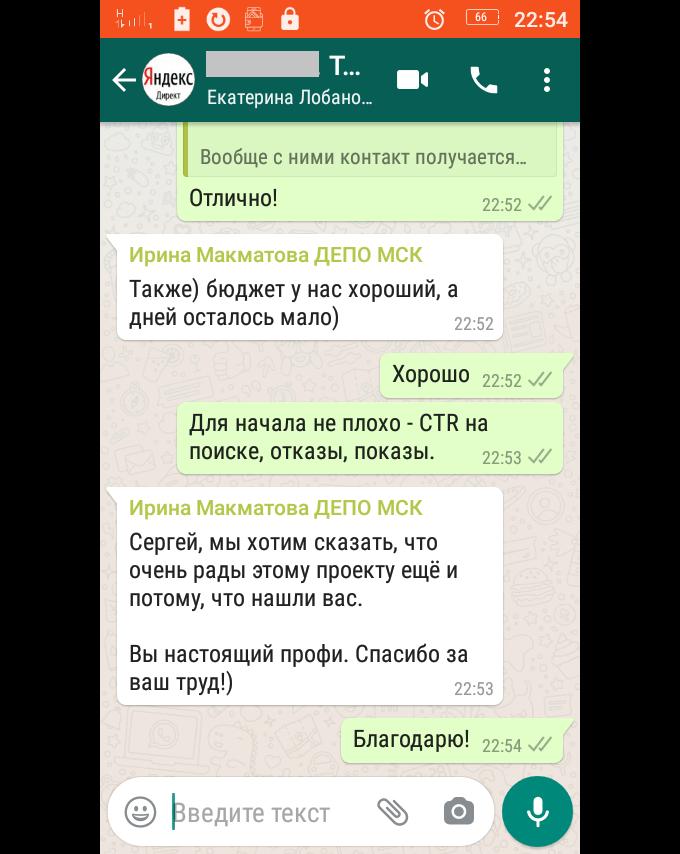 Отзыв на настройку и управление рекламными кампаниями в Яндекс Директ